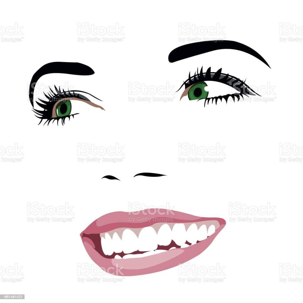 Gorgeous green eye beauty with toothy smile looking away vector art illustration