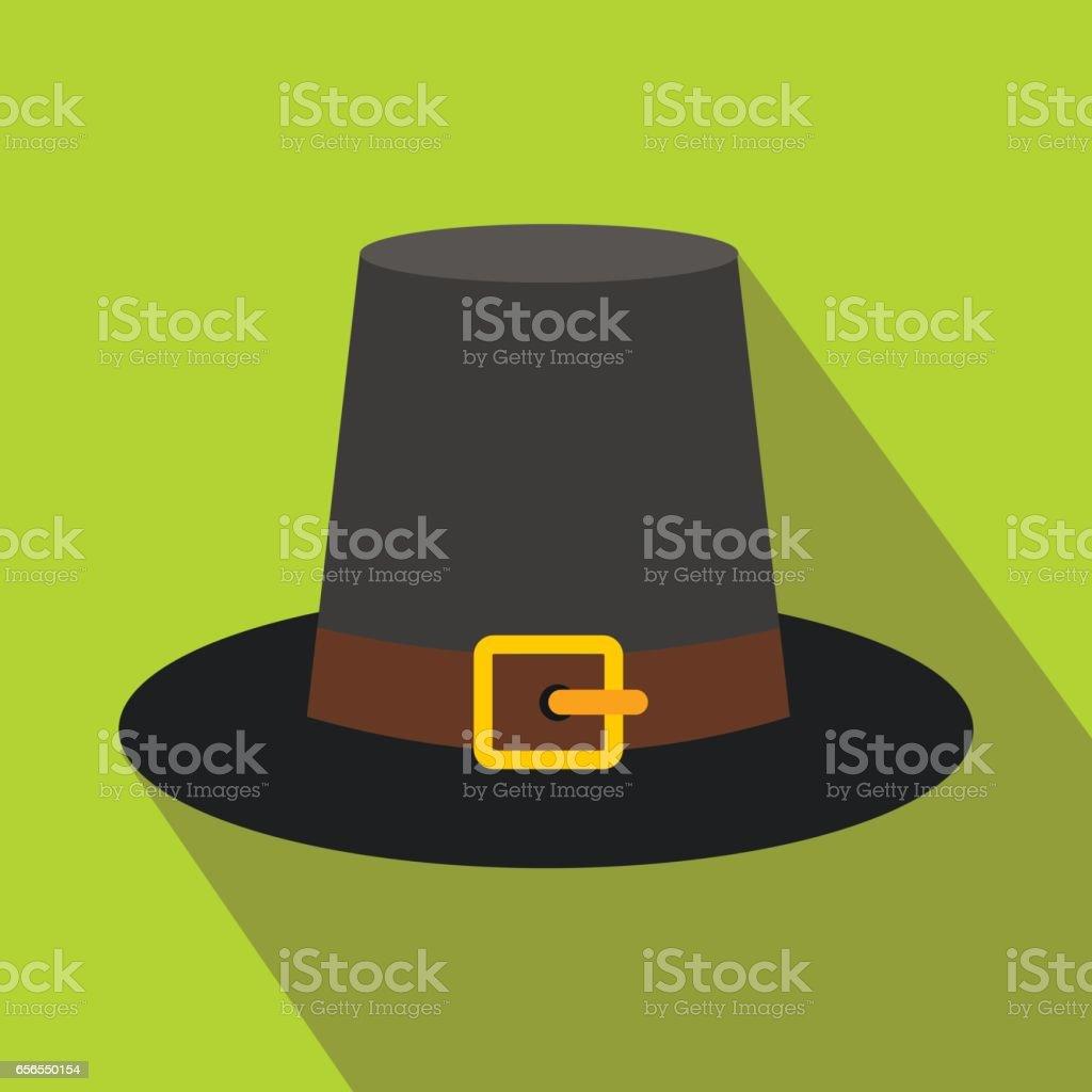 Gorgeous pilgrim hat flat icon with shadow vector art illustration