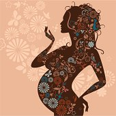 Pregnant woman's silhouette with decorative floral pattern. Eps and hi-res jpg.