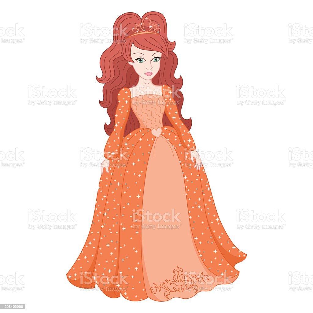 Schone Prinzessin In Strahlenden Pfirsichkleid Mit Garfinkel Stock Vektor Art Und Mehr Bilder Von Abendkleid Istock
