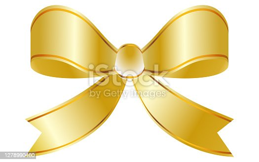 Gorgeous ribbon decoration with golden gradation