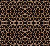 Gorgeous Seamless Arabic Pattern Design. Monochrome Gold Wallpaper or Background.