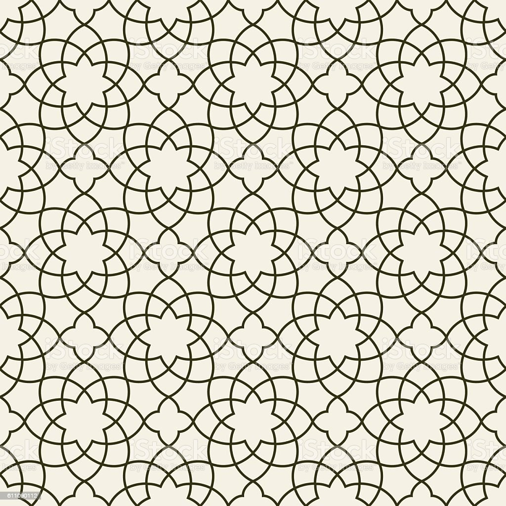 Gorgeous Seamless Arabic Pattern Design. Monochrome Wallpaper or Background. – Vektorgrafik