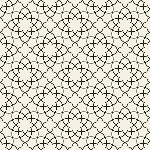 stockillustraties, clipart, cartoons en iconen met gorgeous seamless arabic pattern design. monochrome wallpaper or background. - turkse cultuur