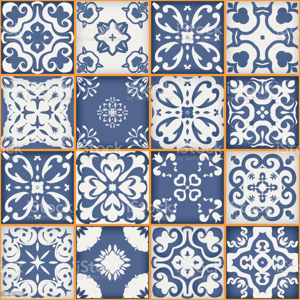 Gorgeous seamless patchwork pattern. dark blue white Moroccan tiles ornaments. vector art illustration