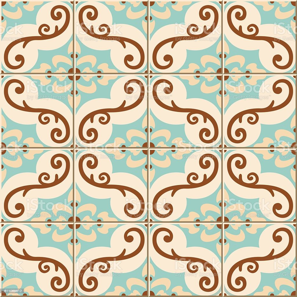 Gorgeous seamless pattern from colorful floral Moroccan, Portuguese tiles, Azulejo vector art illustration