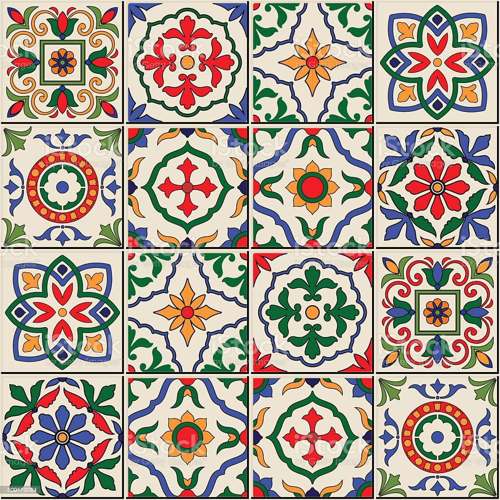 Gorgeous seamless  pattern . Moroccan, Portuguese  tiles, Azulejo, ornaments. vector art illustration