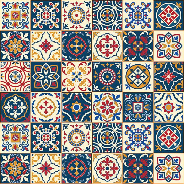 wspaniałe bezszwowe wzór. marokański, portugalski płytek, azulejo, ozdoby. - kultura portugalska stock illustrations
