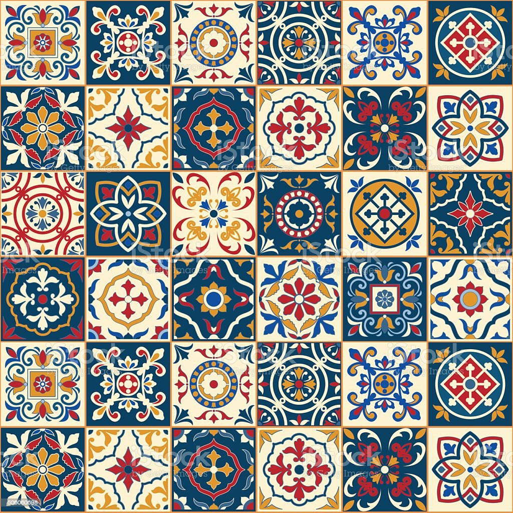 Gorgeous seamless  pattern . Moroccan, Portuguese  tiles, Azulejo, ornaments. vector art illustration