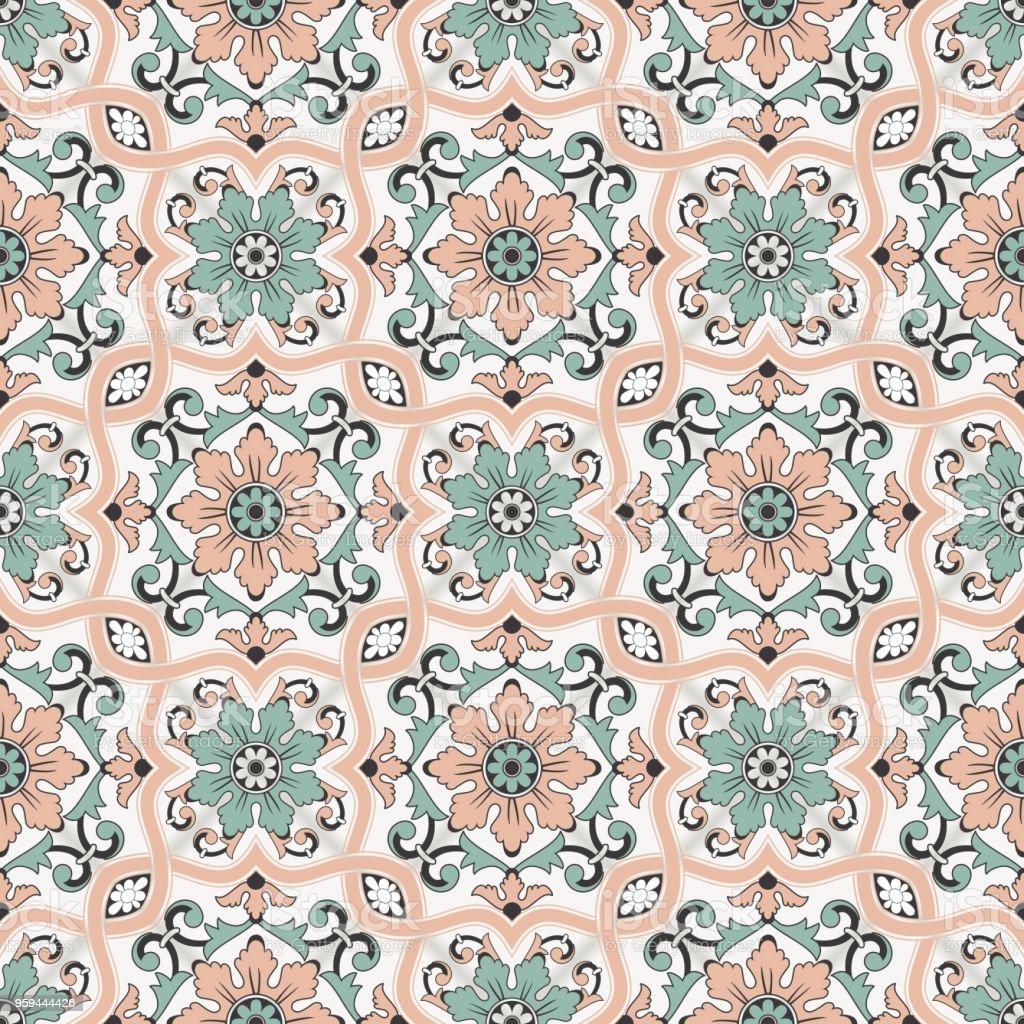 豪華なシームレス パターン モロッコポルトガル タイルazulejo装飾品web ページの背景テクスチャパターンの塗りつぶしの壁紙に使用できます アラビア風のベクターアート素材や画像を多数ご用意 Istock