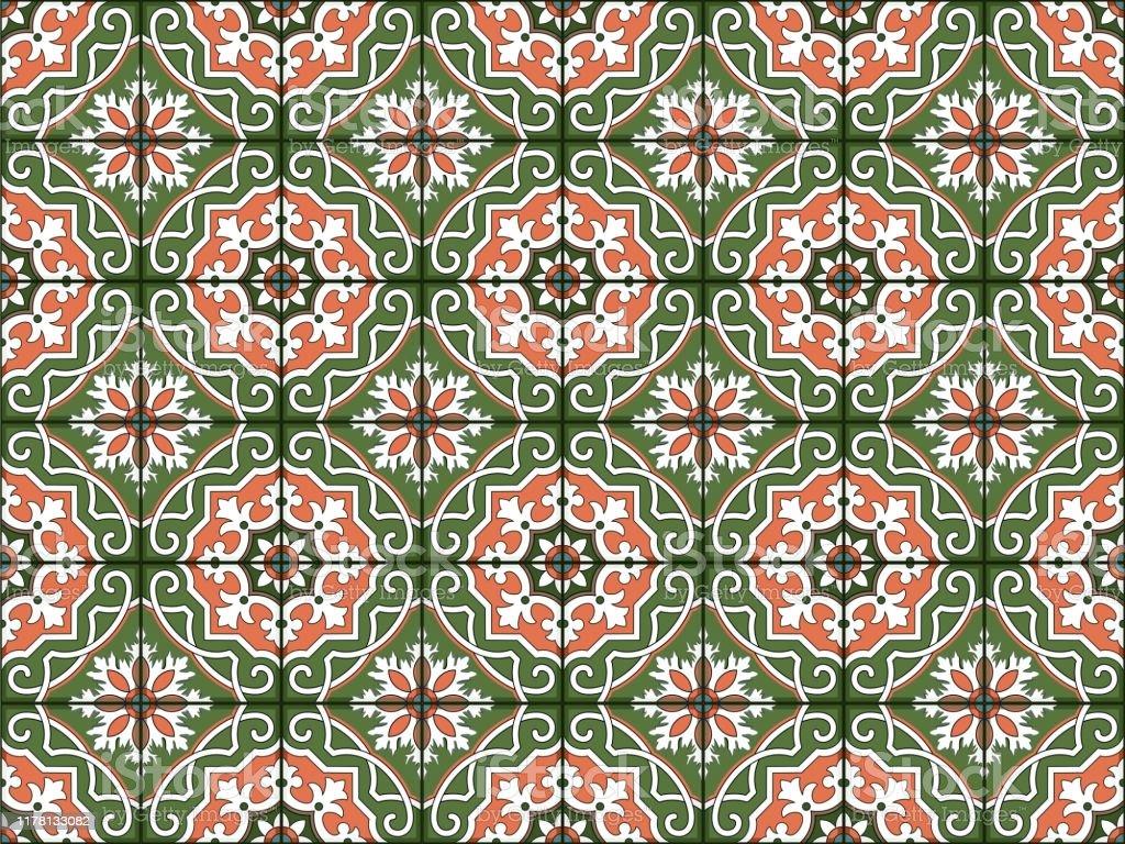 ゴージャスなシームレスなパターン白カラフルなモロッコポルトガルの