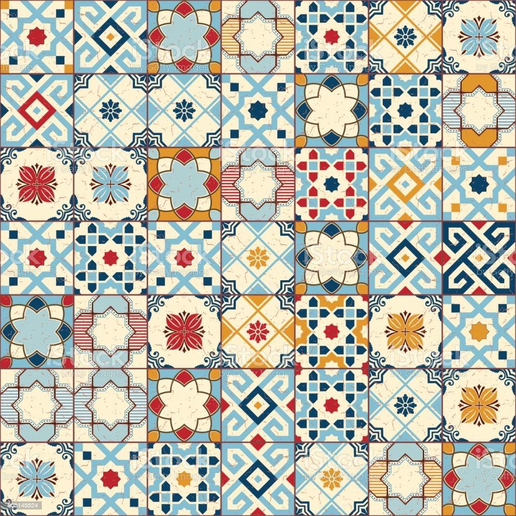 豪華なシームレス パターン ホワイト カラフルなモロッコポルトガル タイルazulejo装飾品ですweb ページの背景テクスチャパターンの塗りつぶしの 壁紙に使用できます アラビア風のベクターアート素材や画像を多数ご用意 Istock