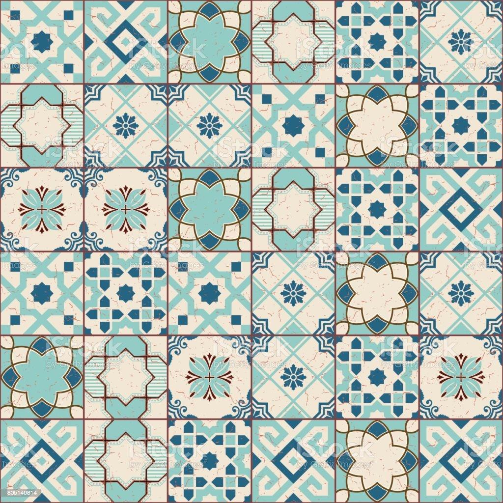Gorgeous Seamless Pattern White Old Green Moroccan Portuguese Tiles ...