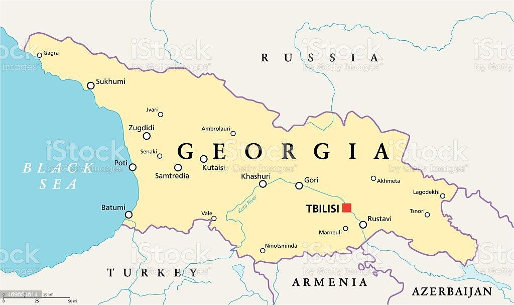 Gorgia Political Map vector art illustration