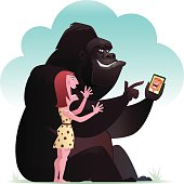 istock gorilla and lady chatting 501650643