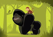 gorilla and monkey meeting in jungle