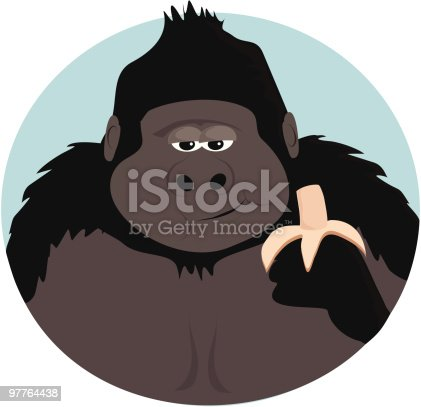 A cartoon image of a gorilla having his lunch.