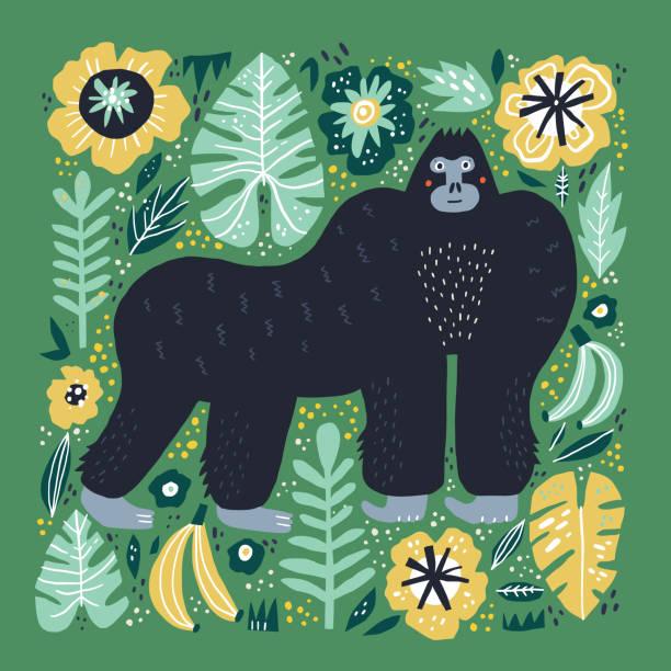 ilustraciones, imágenes clip art, dibujos animados e iconos de stock de la ilustración plana de gorila dibujado a mano - gorila