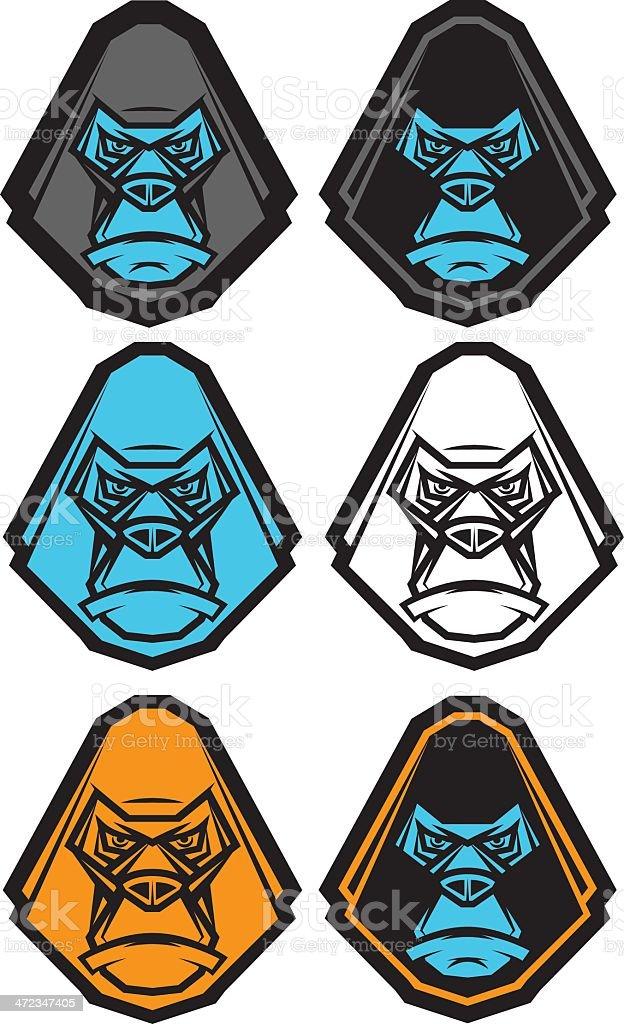 Gorilla Head Icon Set vector art illustration