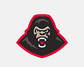 Gorilla head modern logo. Monkey template design emblem for a sport and eSport team.