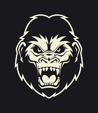 Gorilla head silhouette. Angry roaring ape character mascot.
