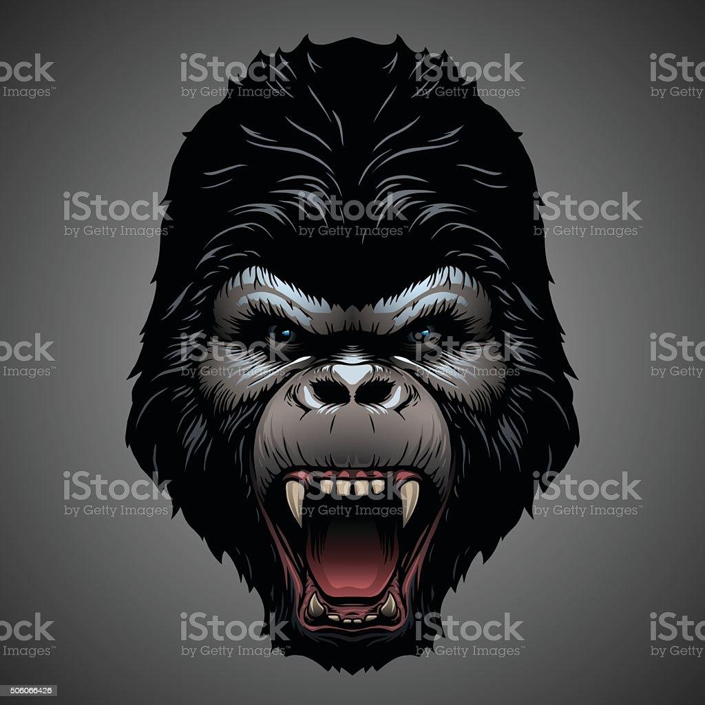 Gorilla head vector art illustration