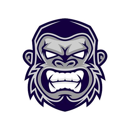 Gorilla head vector, monkey head vector, ape face