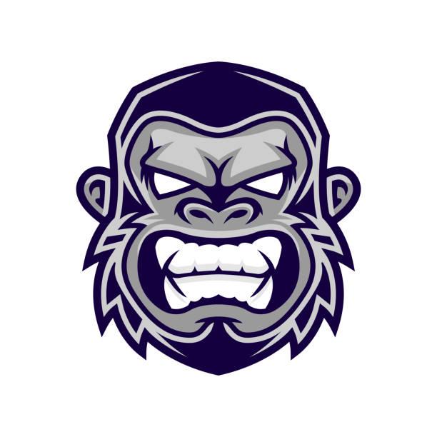 ilustraciones, imágenes clip art, dibujos animados e iconos de stock de gorila cabeza vector, vector de cabeza de mono, cara de mono - gorila