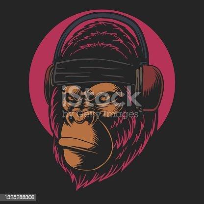 Gorilla headphones vector illustration