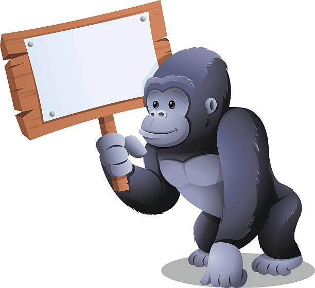 ゴリラ:保持のサイン ベクターアートイラスト