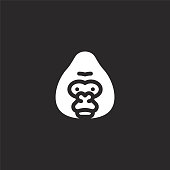 gorilla icon. Filled gorilla icon for website design and mobile, app development. gorilla icon from filled jungle collection isolated on black background.