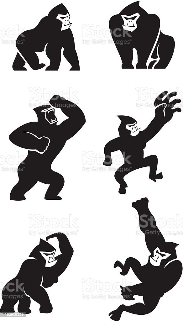 Gorilla icons vector art illustration
