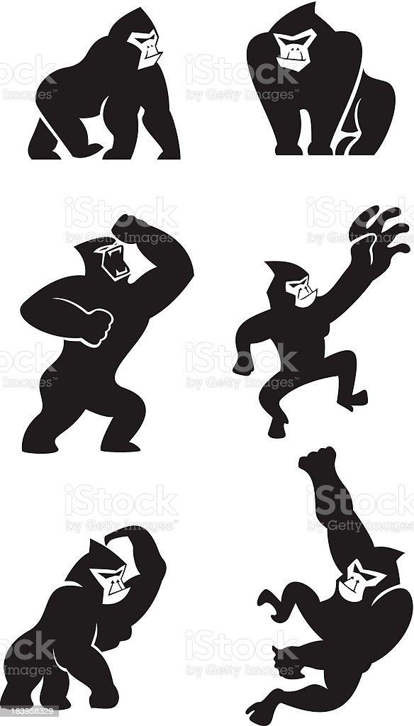 Gorille icônes - Illustration vectorielle