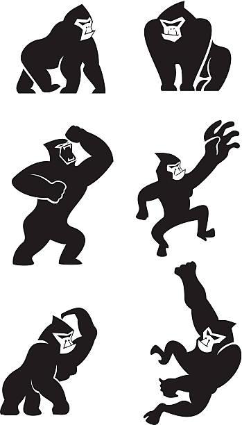 ilustraciones, imágenes clip art, dibujos animados e iconos de stock de gorila de iconos - gorila