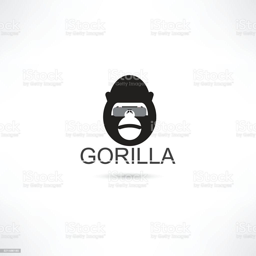 Gorilla in eyeglasses vector art illustration