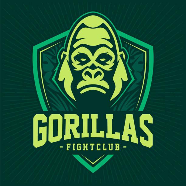 gorilla mascot emblem design - jungle stock illustrations
