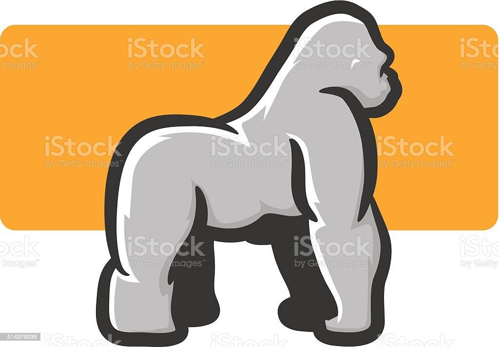 Gorilla Mascot Side View vector art illustration