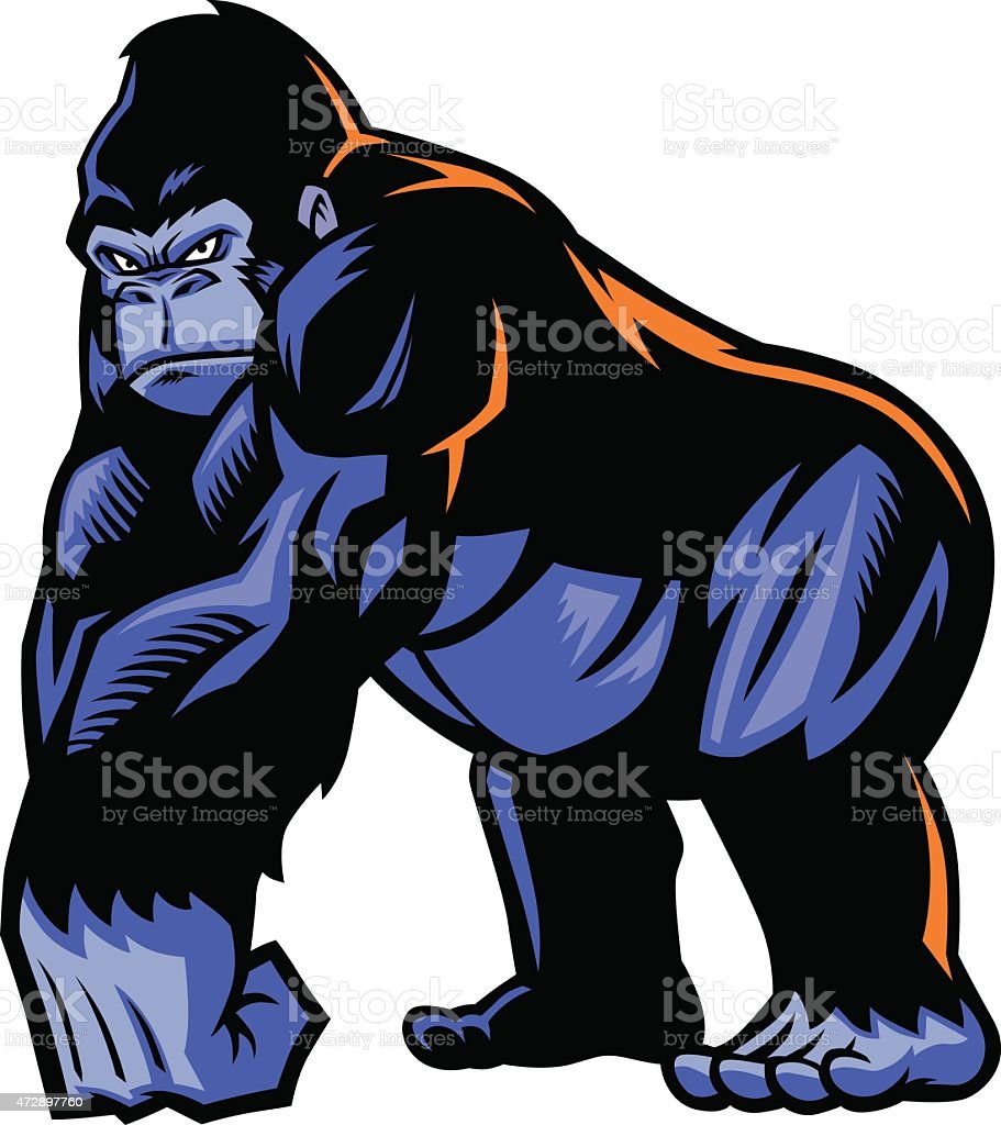 gorilla mascot vector art illustration