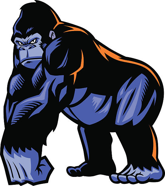 ilustraciones, imágenes clip art, dibujos animados e iconos de stock de gorila mascot - gorila