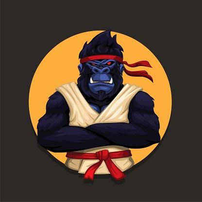Gorilla monkey wearing karate uniform. animal martial art athlete character illustration vector