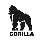 Angry Gorilla monochrome logo, symbol Vector illustration