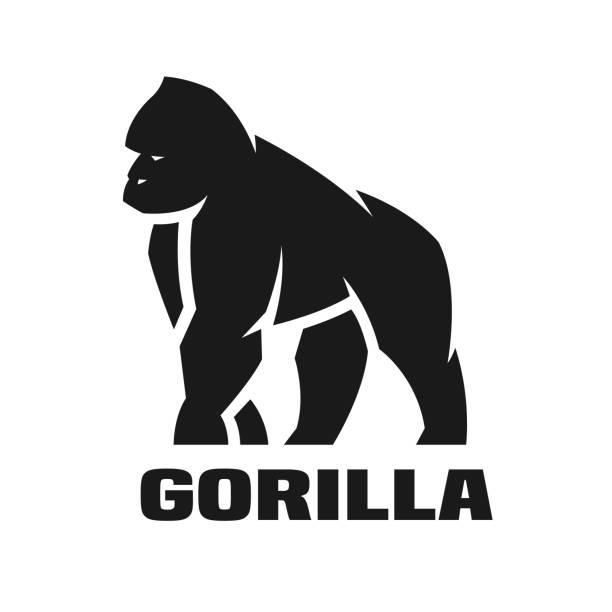 ilustraciones, imágenes clip art, dibujos animados e iconos de stock de logotipo monocolor de gorila. - gorila