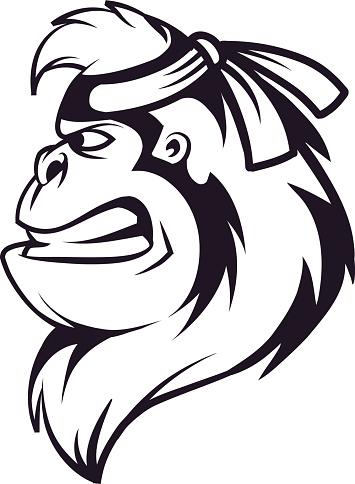 Gorilla ninja head logo