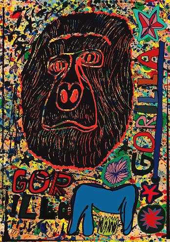 Gorilla artwork/collage on funky background