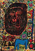 istock Gorilla on busy paint splattered background 1203428285