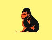 vector illustration of gorilla sitting and thinking