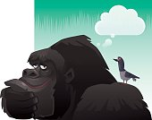 vector illustration of funny gorilla and pigeon thinking…