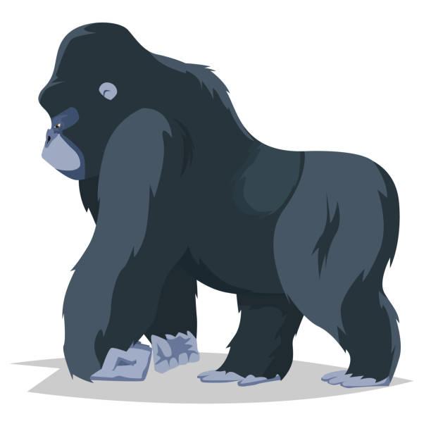 gorilla walking side view - gorilla stock illustrations