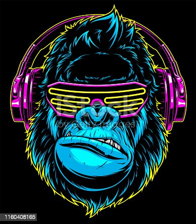 Vector illustration. funny gorilla listening to music on headphones, stylish DJ.