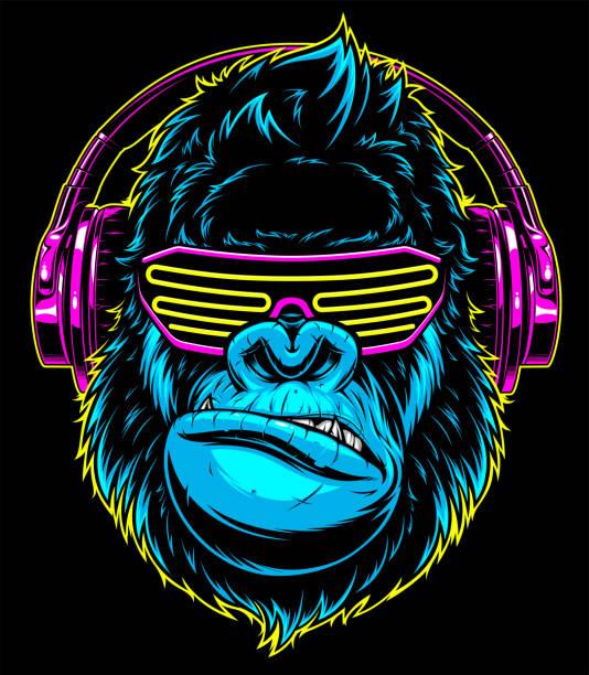gorilla with headphones - gorilla stock illustrations